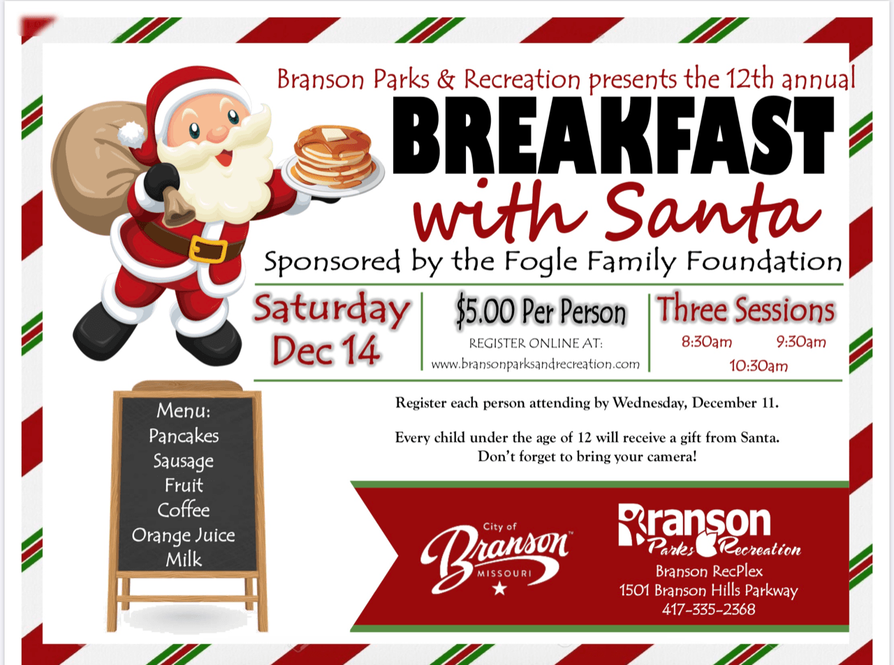 Branson Parks and Recreation to Host Annual Breakfast with Santa