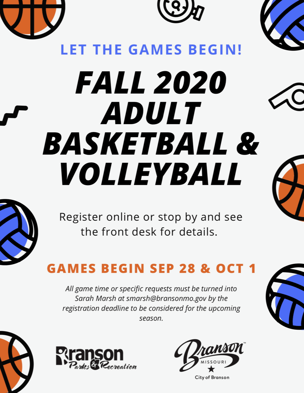 Adult Volleyball and Basketball Flyer