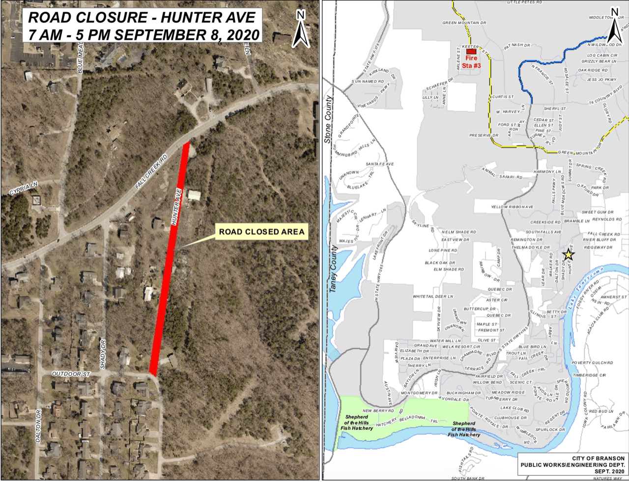 Hunter Ave Closed September 8